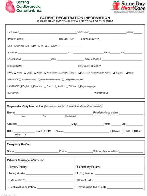 Patient Central  Heart Care Forms