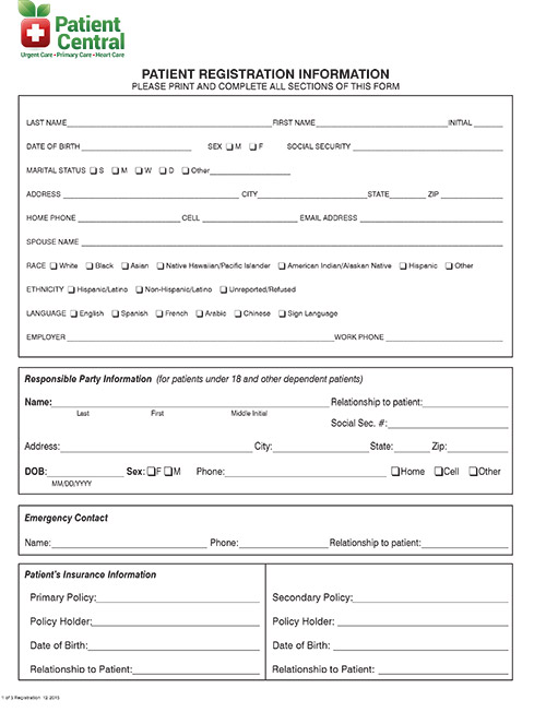 Patient Central - Urgent Care Forms